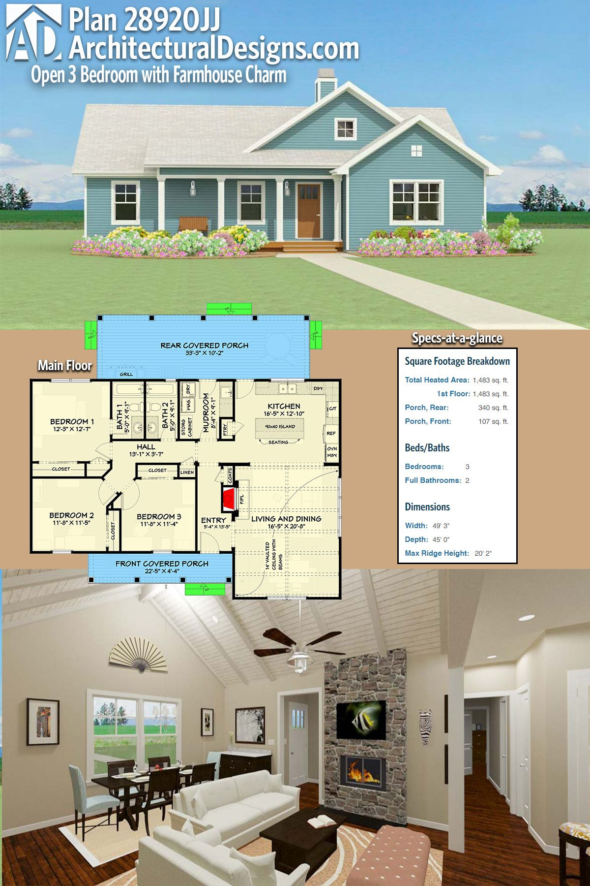 master bedroom additions over garage%0A Plan      JJ  Open   Bedroom with Farmhouse Charm