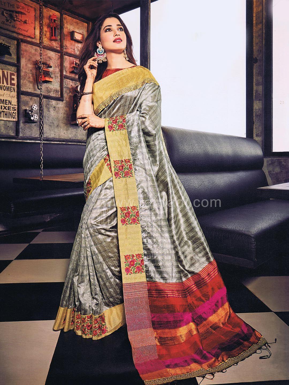 Multicolored tamannah bhatia flower work saree rajwadi saree