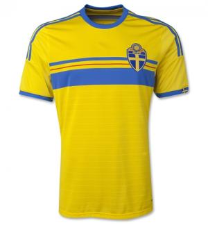 SWEDEN National team 2014 HOME SOCCER JERSEY  1405111637   25829ff32