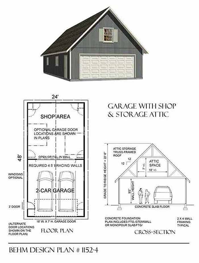 Oversized 2 car steep roof garage plan with one story 1152 for 20 x 24 garage plans with loft