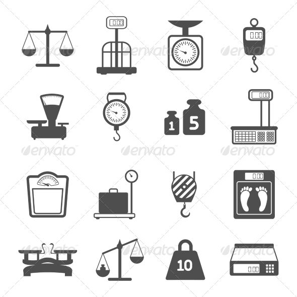 Scales Weight Icons Set Weight Scale Icon Set Icon Set Vector