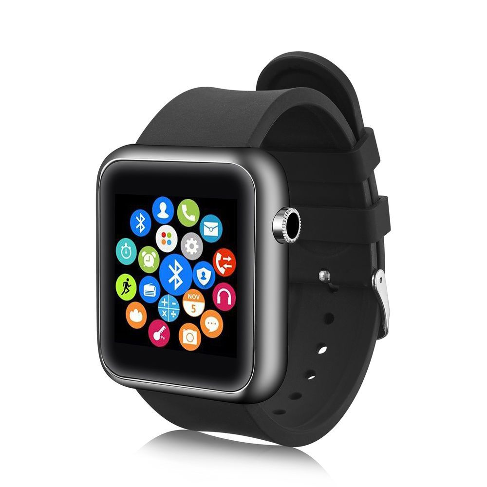 Black Bluetooth Smart Wrist Watch Phone Mate For Android
