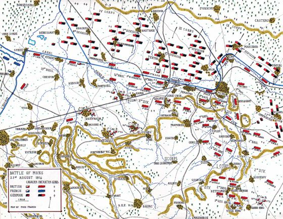 Map of the Battle of Mons First World War John Fawkes The Great