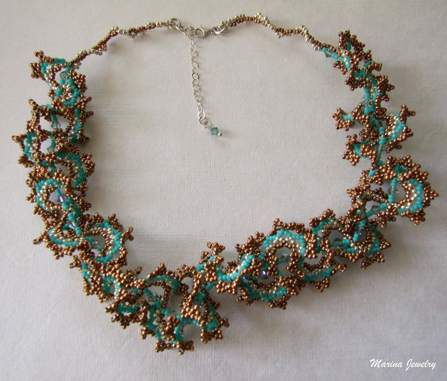 Beaded Necklace - beadwork jewelry - beadweaving - Glass beads ...
