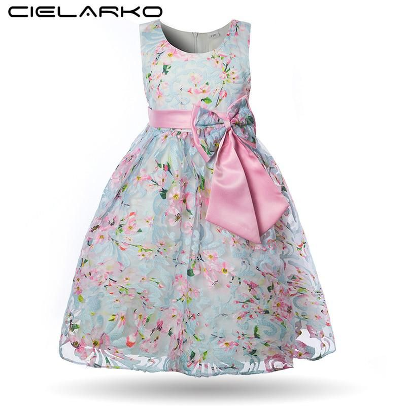3884919b79f9 Cielarko Girls Flower Dress Princess Blue Pink Elegant Ball Gown ...