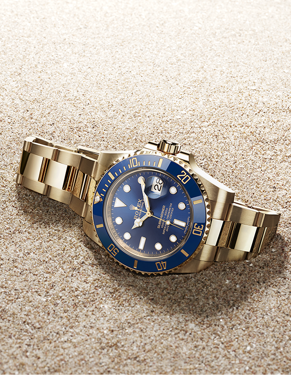 The Rolex Submariner Date In 18ct Yellow Gold With A Blue Dial The Cerachrom Bezel Insert In Blue Cera Rolex Watches Rolex Submariner Rolex Submariner No Date