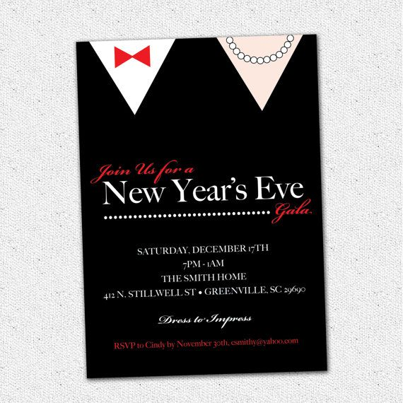 new years eve gala celebration bash party invitation black tie formal printable diy digital file