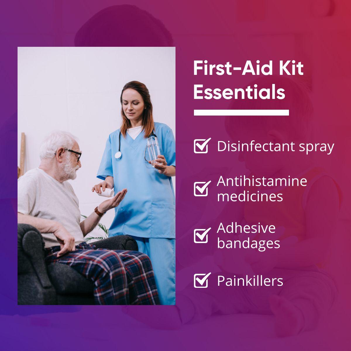 First-Aid Kit Essentials  #SkillcareHealthServicesIncDbaCaringAtHome #FirstAid #firstaid
