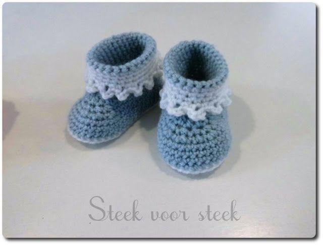 Verrassend Haakpatroon Babyschoentjes   Breien en haken, Schoentjes haken QM-86