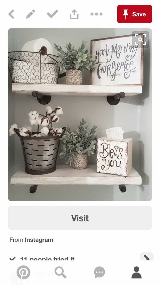 Powder room shelves farmhouse decor bathroom rustic decorating white also best farm house images home decorations rh pinterest