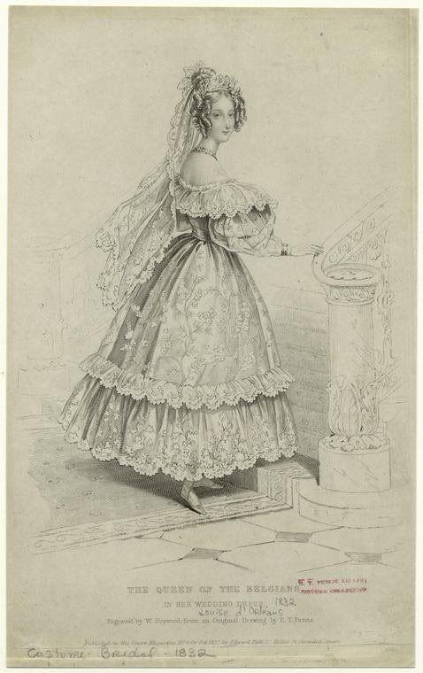 Louise D Orleans 1832 French Wedding Dress Fashion Plates Fashion