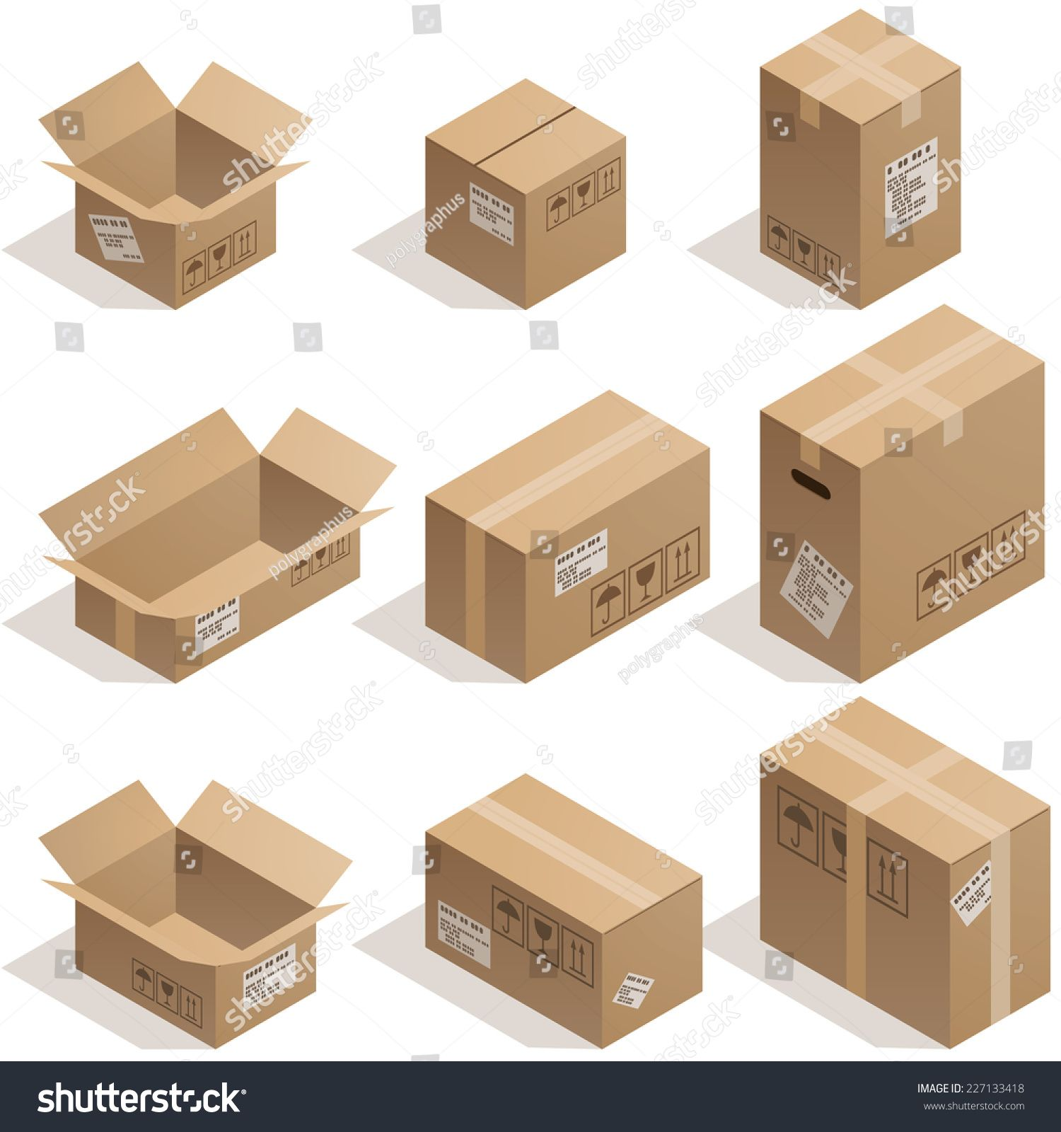 Set Of Nine Isometric Cardboard Boxes Isolated On White Eps8 Cmyk Organized By Layers Global Colors Gradien In 2020 Isometric Isometric Illustration Cardboard Box
