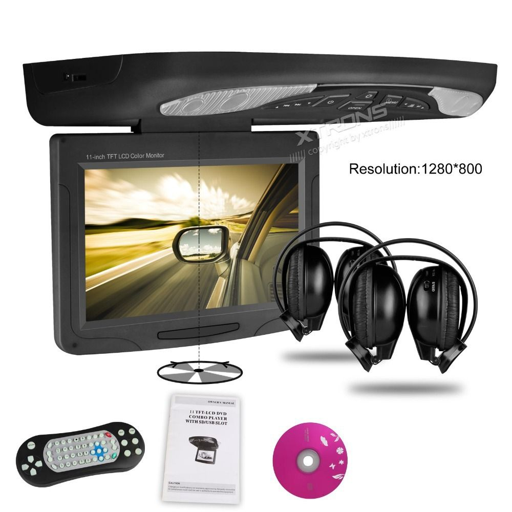 11 3 Hd Car Flip Down Monitor Roof Mounted Dvd Player 1280 800 Rotating Screen 270 Overhead Ceil Dvd Player Car Audio Systems Wireless Headphones For Running