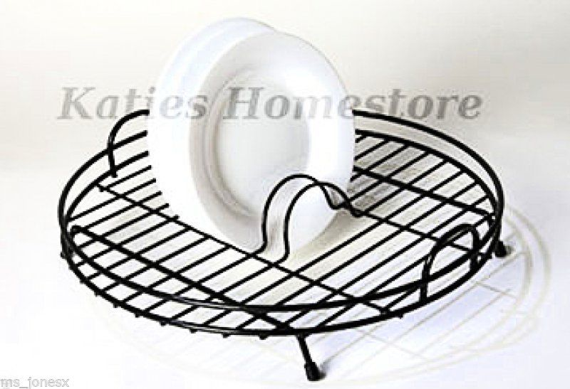 Delfinware Black Plastic Coated Circular Round Dish Drainer Sink Plate Rack
