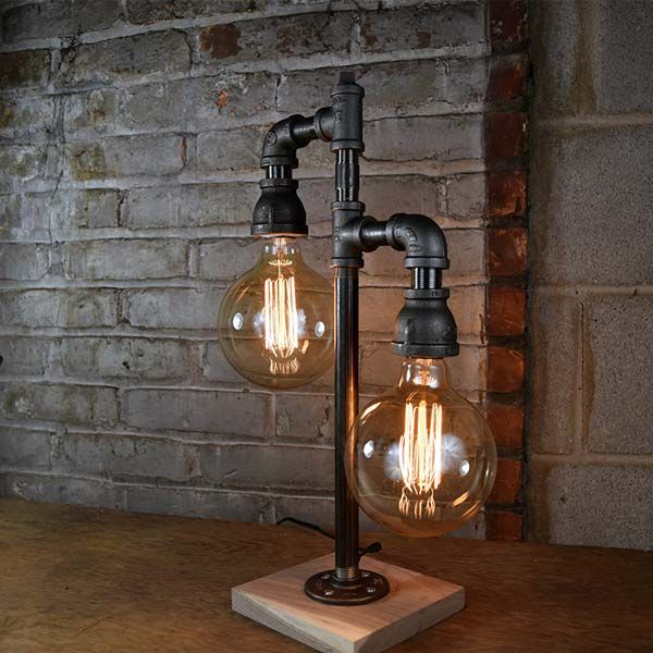 Handmade Steampunk walnut base Edison lamp rustic home decor wooden lamp Unique wood table lamp industrial lighting bedside lamp copper