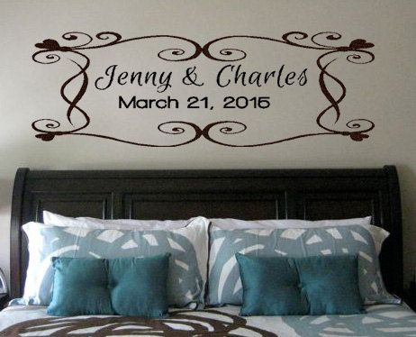 Wedding Date Wall Decal Wedding Gift Idea Wedding Monogram Vinyl - Custom vinyl wall decals for master bedroom