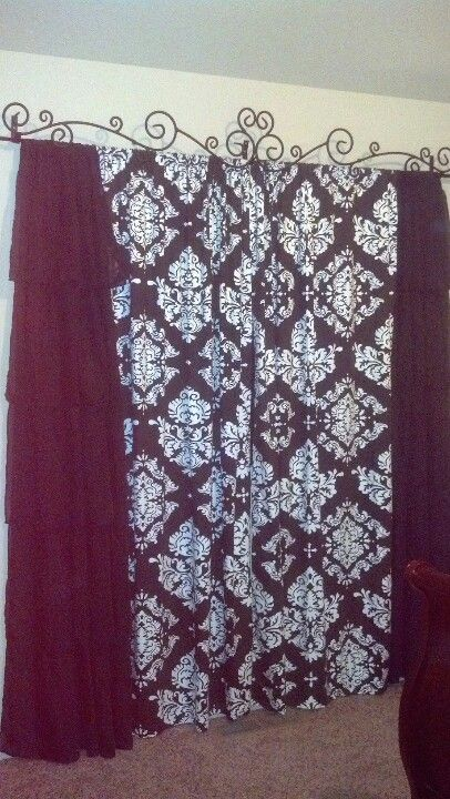 Walmart Curtains Mixed With Wrought Iron Scroll Rod Curtain