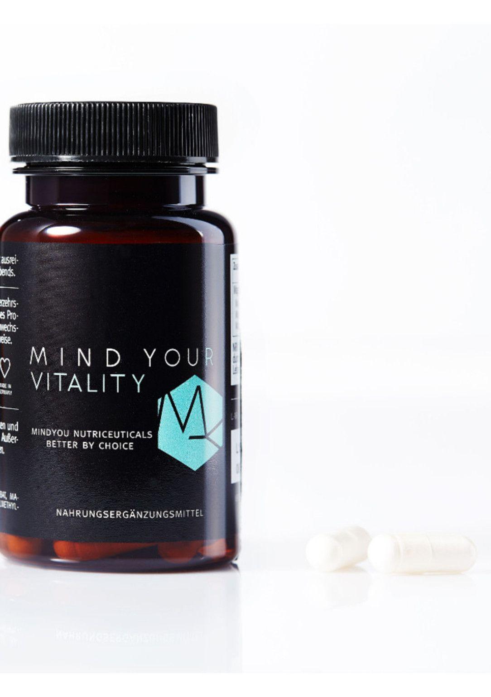 MIND YOUR VITALITY von Mind you, mit hochdosierten Magnesiumverbindungen, um 39 €