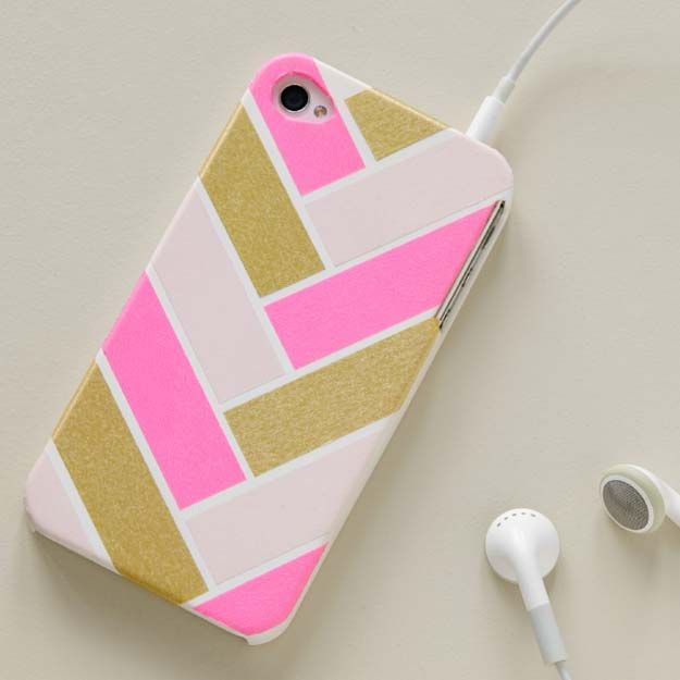 3eec13a301 DIY iPhone Case Makeovers - Washi Tape iPhone Case - Easy DIY Projects and  Handmade Crafts Tutorial Ideas You Can Make To Decorate Your Phone With  Glitter, ...