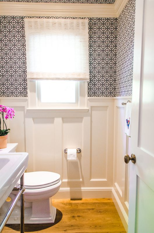 power bath, wallpaper walls and ceiling | Powder room ...