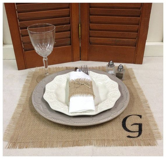 Burlap Placemat Set Of 4 Or 6 Or 8 With Initial Overlay Or Etsy Square Placemats Placemat Sets Placemats