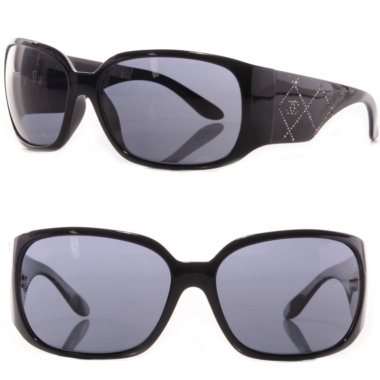 9e83af4ddd910 CHANEL CC Quilted Swarovski Sunglasses 5080-B Black