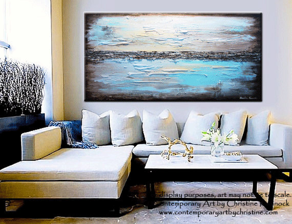 Art Print Abstract Painting Blue Giclee Modern Large Canvas Urban Aqua Brown White City Home Wall Decor Xl Sizes Up To Christine
