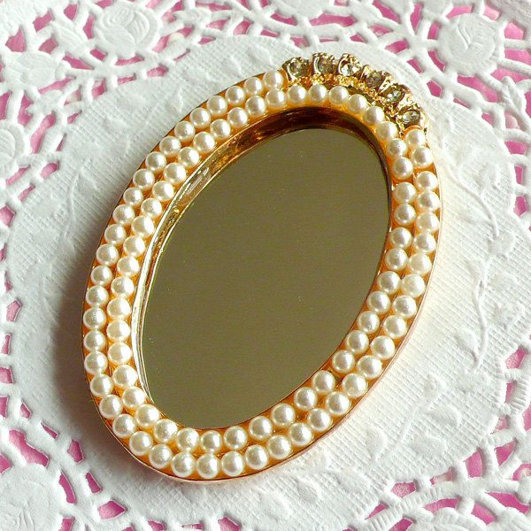 Mirror Cabochon with Cream White Faux Pearl, Clear Rhinestones in Luxcury Style (63mm x 43mm) Kawaii Big Cabochon DIY Cell phone Deco CAB099. $3.25, via Etsy.