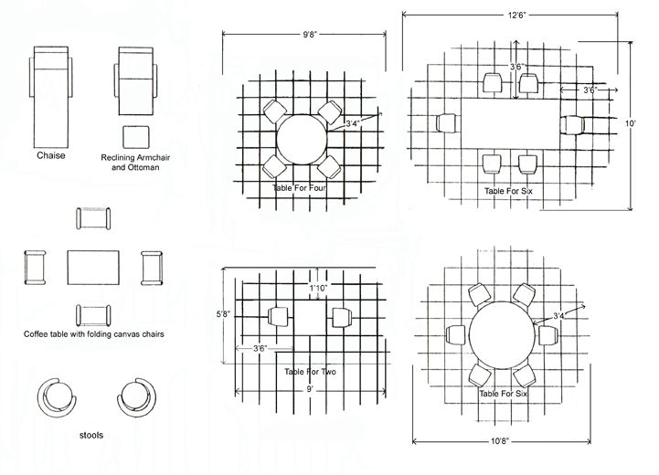 Beau Patio Size Chart/ Diagram