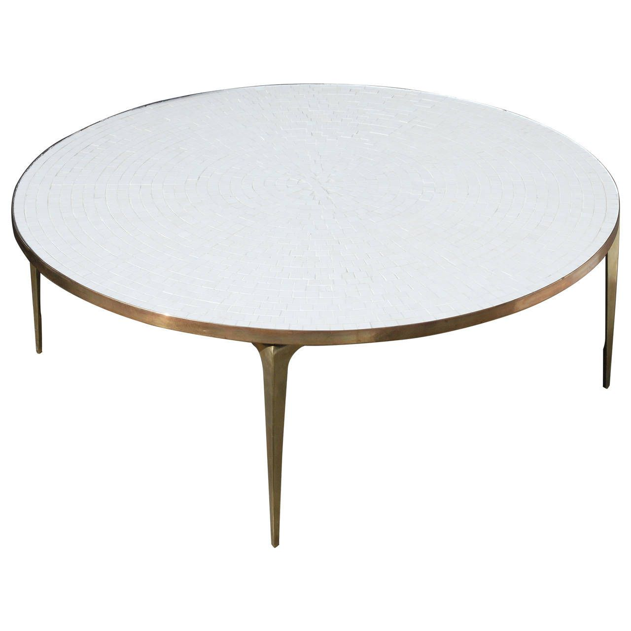 Round Brass And White Mosaic Coffee Table 1stdibs Com Coffee Table Mosaic Coffee Table Round Coffee Table [ 1280 x 1280 Pixel ]