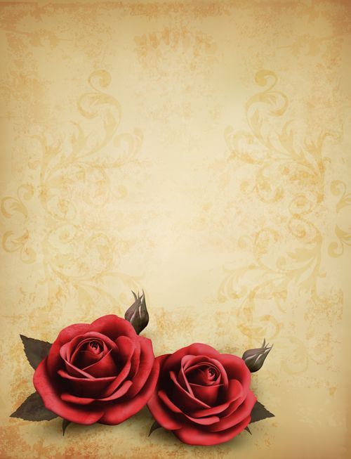 Roses and Vintage background vector 02 | Scrapbook ...