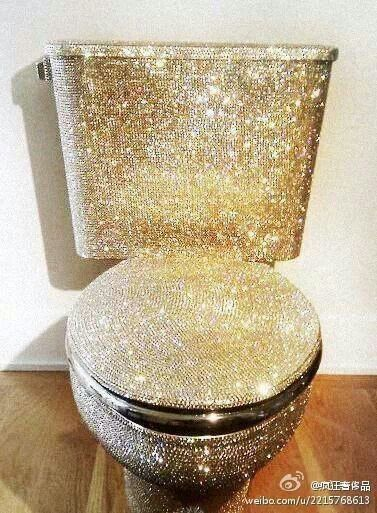 gold glitter toilet seat. Whoaaaa  who dare to poop on a bedazzled toilet seat lol Bling