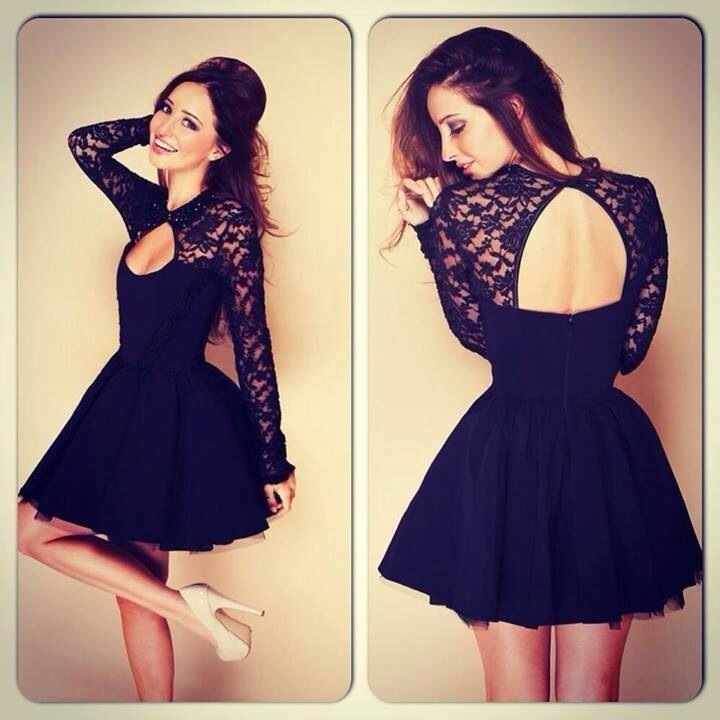 New Fashion Black Lace Patchwork Backless Cute Long Sleeve Evening