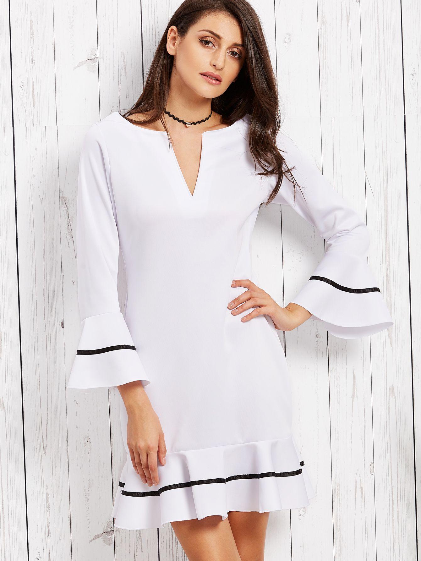 97d2ecb970 Shop White Deep Notch Neck Bell Sleeve Striped Ruffle Dress online. SheIn  offers…