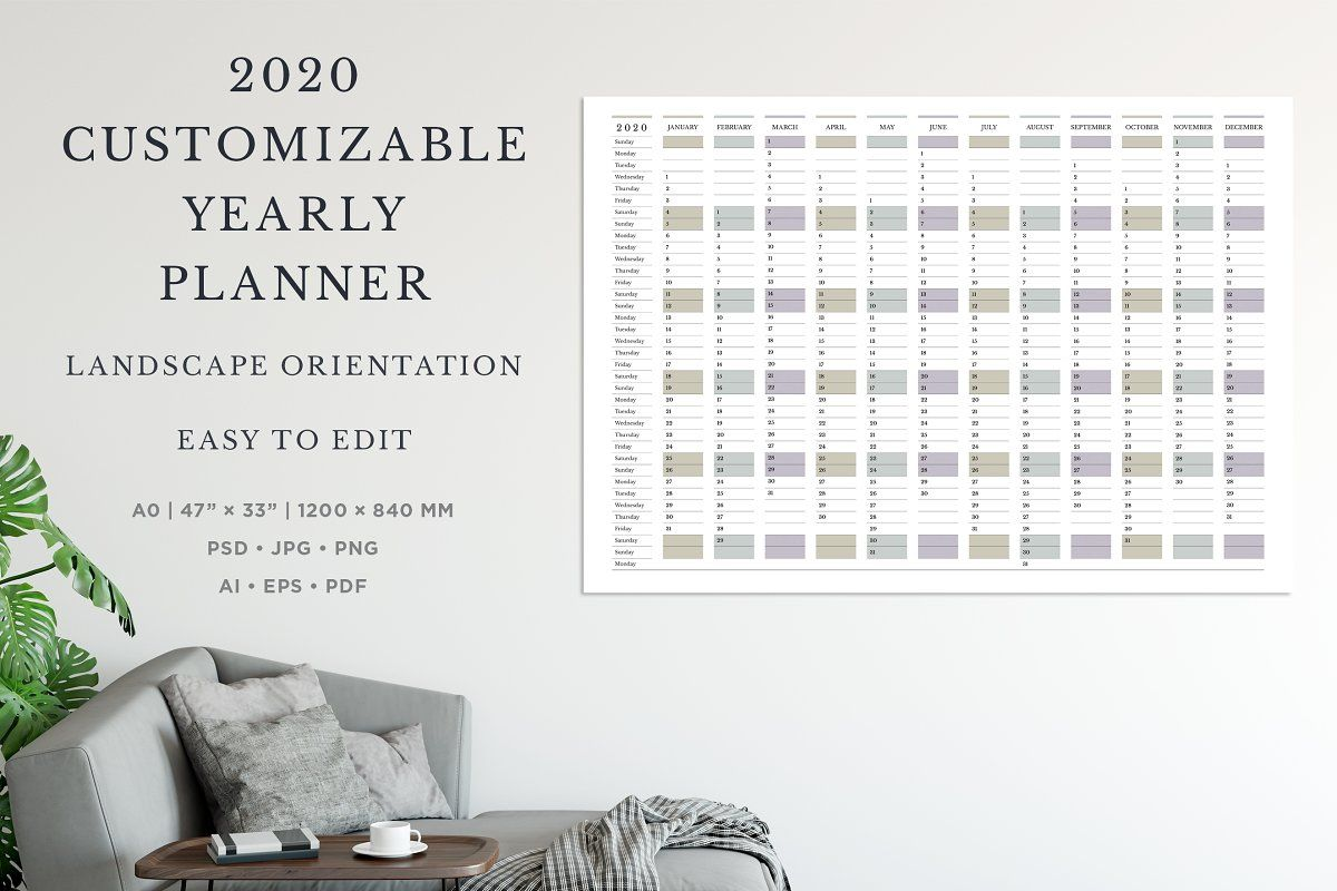2020 Customizable Yearly Planner L