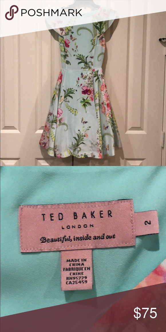 NWOT Ted Baker Black Wrap Dress Knee Length Size 0 US 2
