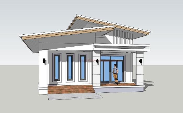 Simple Three-bedroom Bungalow with a Provision for another Bedroom and Storage - Pinoy House Plans