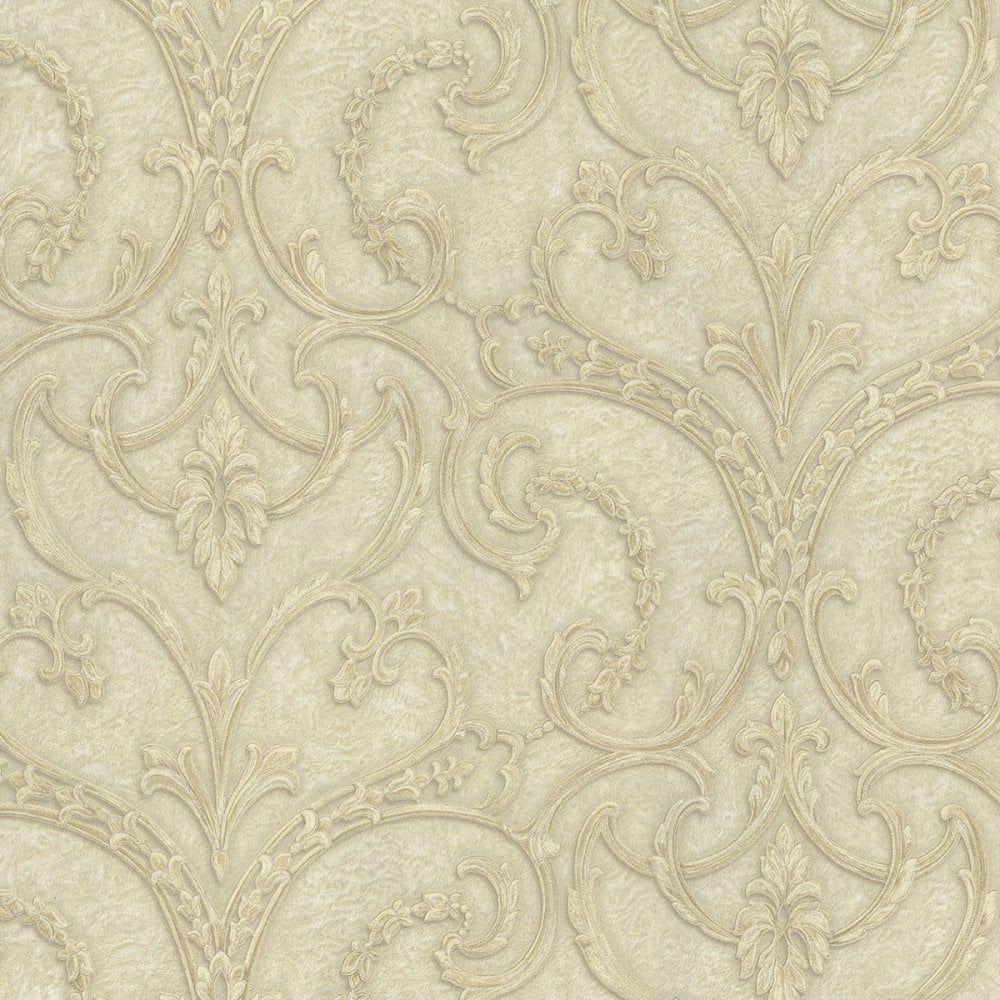 Damask wallpaper hallway ideas  Lusso Principessa Damask Wallpaper Soft Beige Gold Double Rolls
