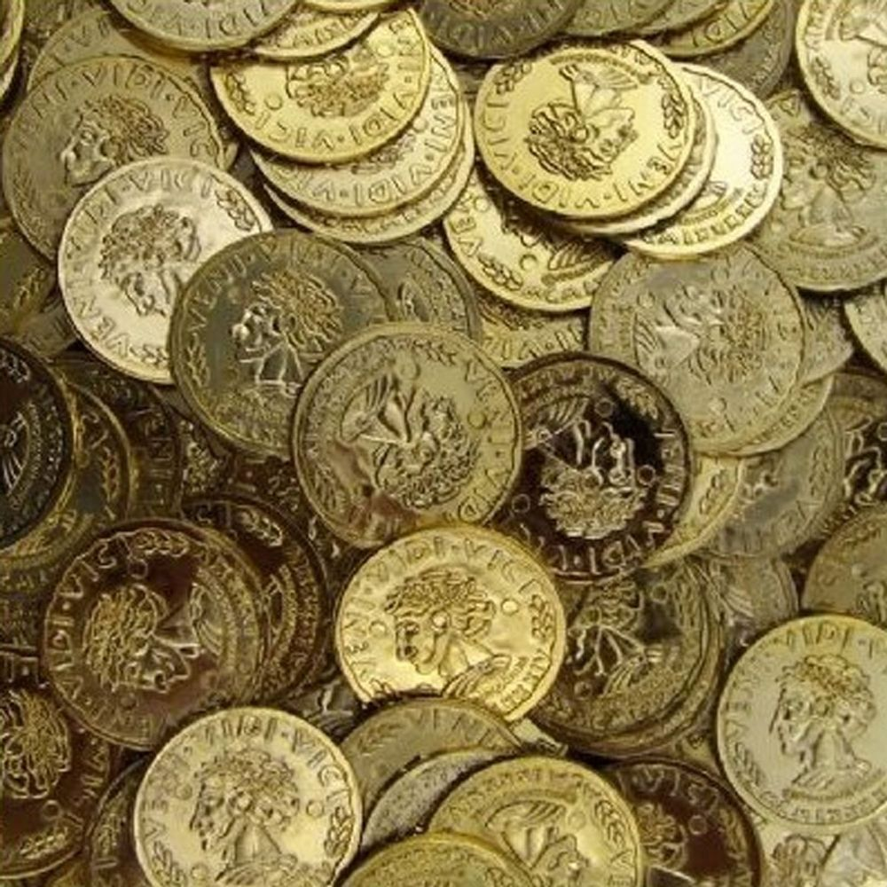 144 pcs Pirate Gold Coins Money Caribbean Treasure Birthday