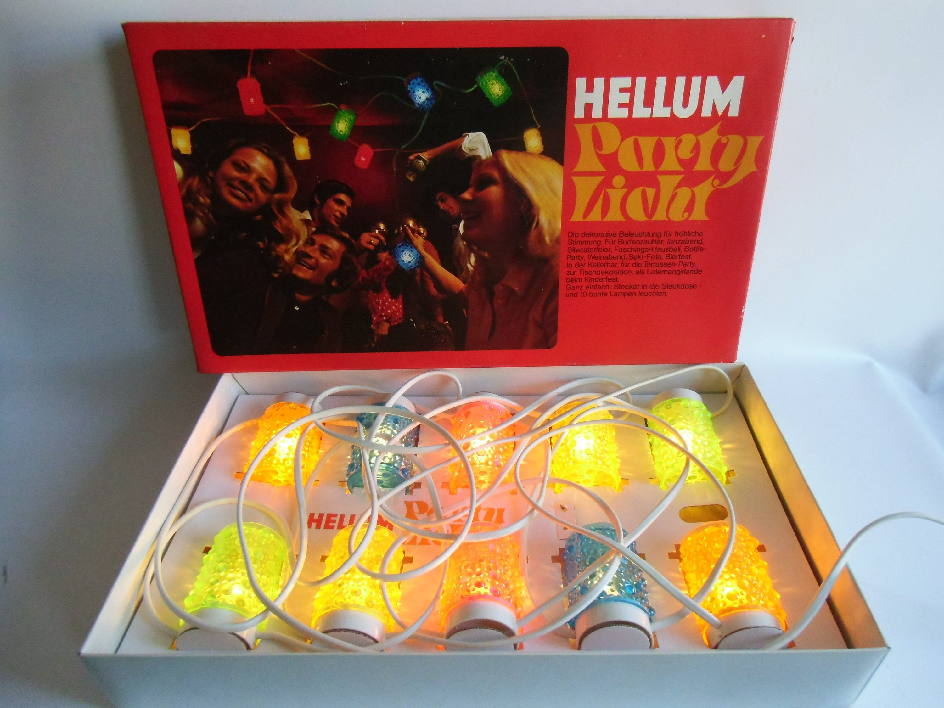 Partylicht Beleuchtung Original Ddr Ovp Hellum Narva Party Girlande Disco Space Age Spacy Silvester New Year S Partylicht Party Girlande Party