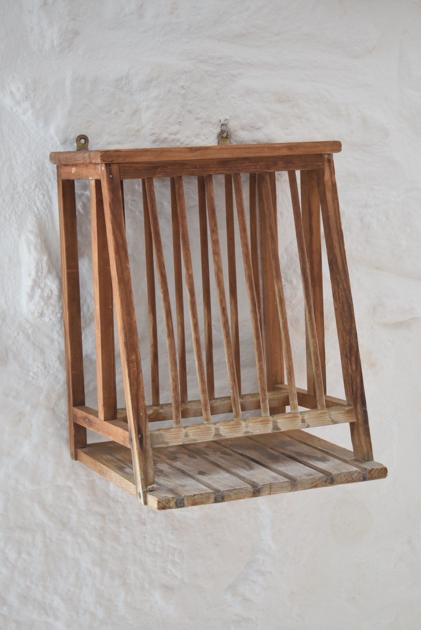 Small Antique Victorian Pine Plate Rack