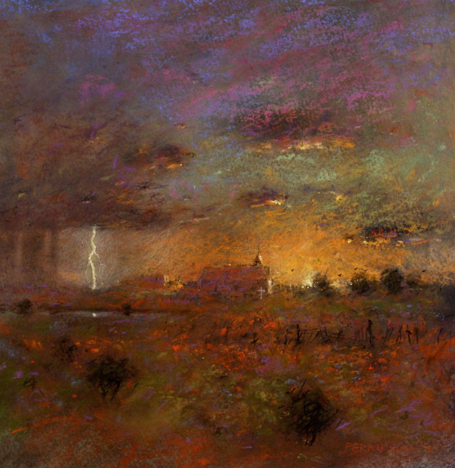 Summer Lightning - New Mexico Landscape Art Painting by Tom Perkinson