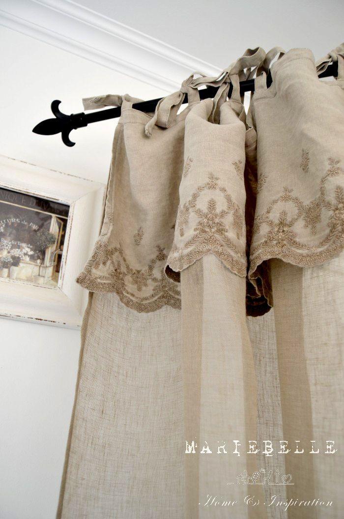 Aurelie*140x250 cm*Gardine Vorhang Schal Stickerei *Shabby*Vintage
