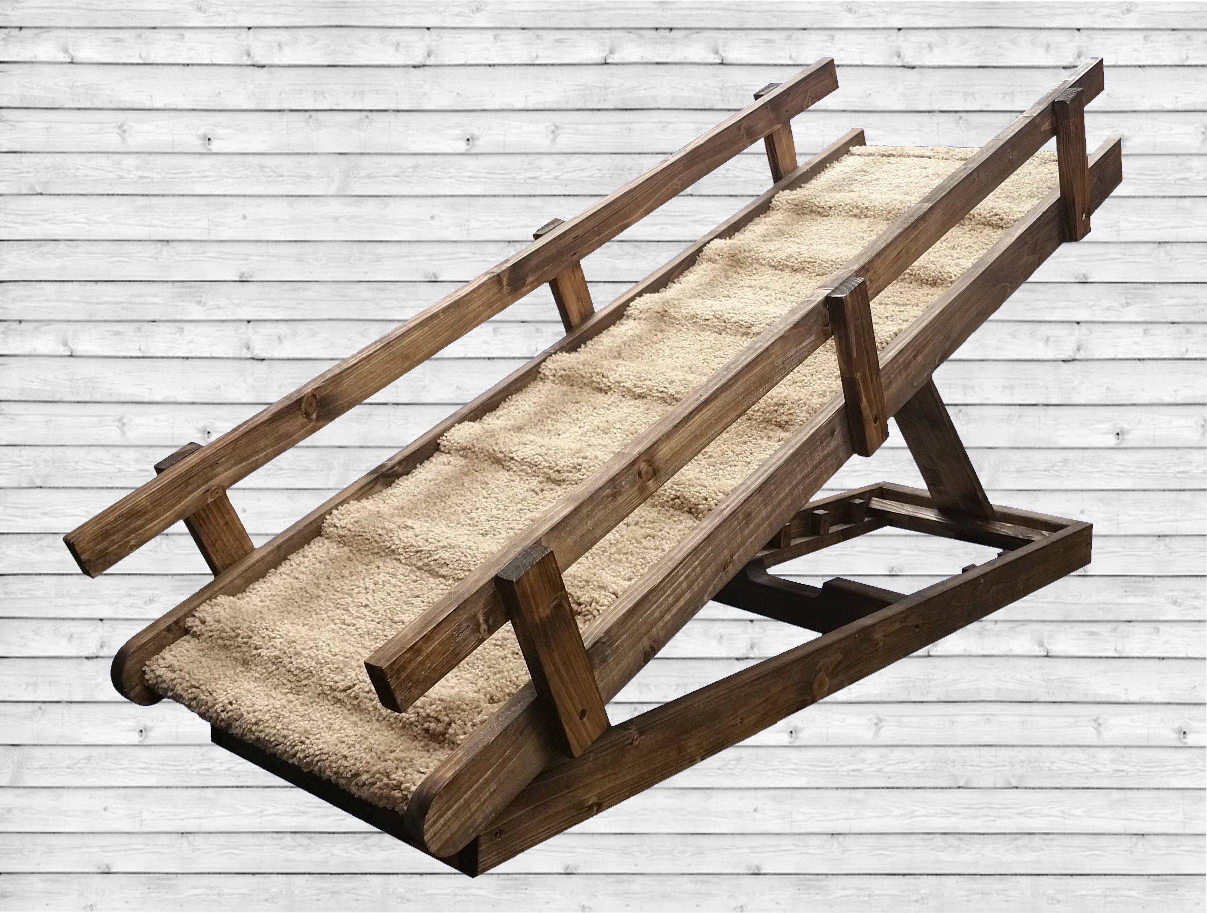 Sturdy Free Standing Dog Ramp W/ Rails/ Built in Steps