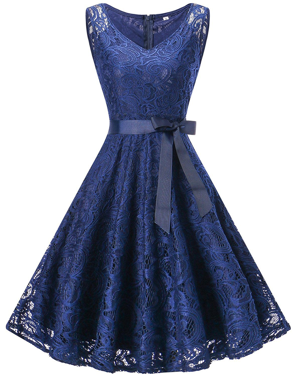 Womenus sleeveless floral lace cocktail dress formal party swing