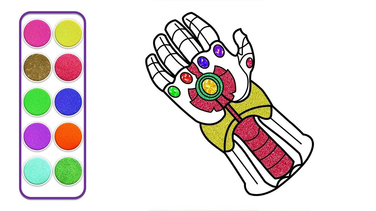 Thanos Infinity Gauntlet Gloves Drawing Coloring Pages How To