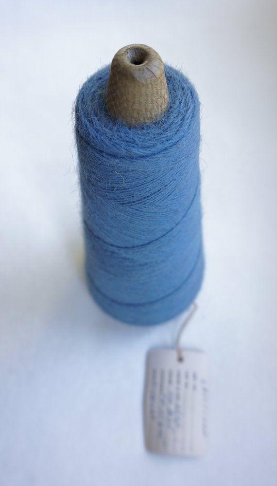 Vintage Dusty Blue Yarn Cone Weaving Fibers Punch