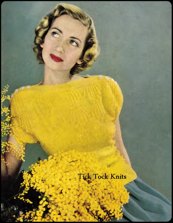 No.291 Women s Golden Bobbles Sweater Knitting Pattern PDF Vintage - 1940 s  Era Knitting Pattern - I a6d6ee8766