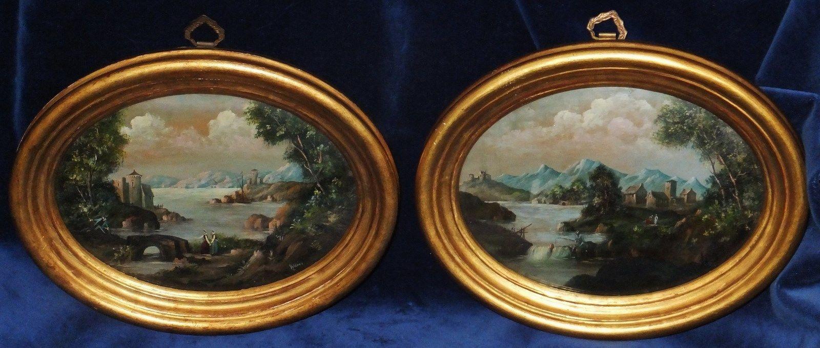 Pair Antique Miniature OIL Paintings Signed Wilson Original Frames Victorian | eBay
