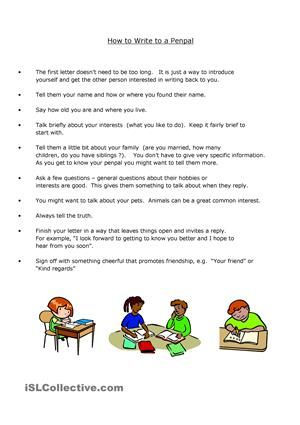 A compilation of tips for writing an initial Penpal letter. Sample ...
